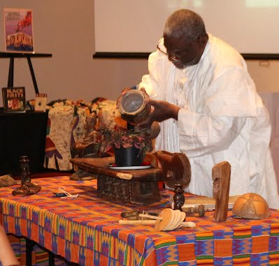 Rev. James Ephraim performing Sankofa Ceremony at BAAGG Black Expo-Feb 2016